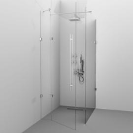 Cabina de dus Alux Glassline patrata - 1 usa - sticla securizata