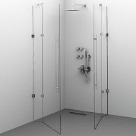 Cabina de dus Alux Glassline patrata - 2 usi - sticla securizata